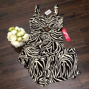 NWT!! Brown/Cream Zebra Print Maxi Dress- size 6P